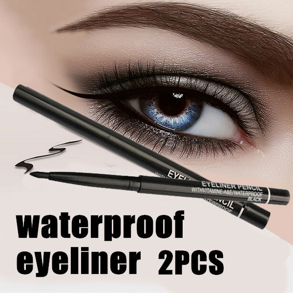 Hot Sale! 2pcs/lot  Women Waterproof Retractable Rotary Eyeliner Pen Eye Liner Pencil Makeup Cosmetic Tool 131-0229