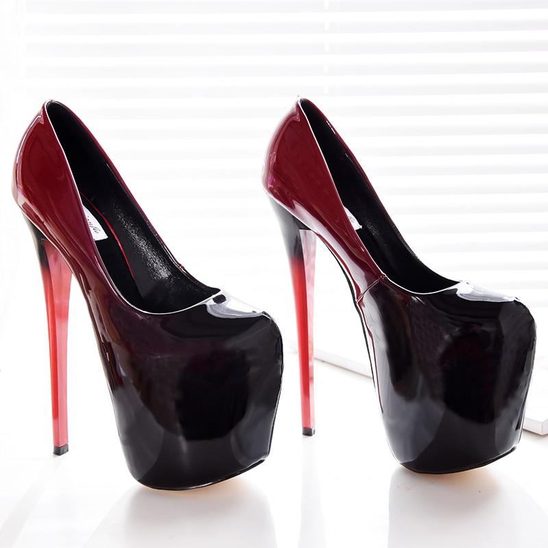La Cm 19 Noce Chaussures 47 Verni Sexy Plate forme Pompes Taille Stiletto Talons rouge Femme Noir De Designer Cuir Plus En Extreme dqY0wd
