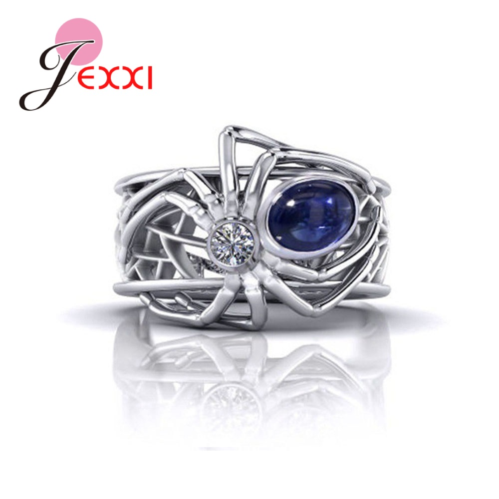 Exquisite <font><b>Women</b></font> Fashion Creative Spider <font><b>Ring</b></font> Punk Style <font><b>Pure</b></font> <font><b>925</b></font> Sterling <font><b>Silver</b></font> <font><b>Rings</b></font> <font><b>for</b></font> Wedding Party Engagement Accessories image