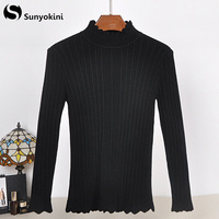 Sunyokini Lace Border Knitting Sweater Women Pullovers Spring Autumn Winter Sweaters Tees Long Sleeve Fashion Jumper Pull Femme
