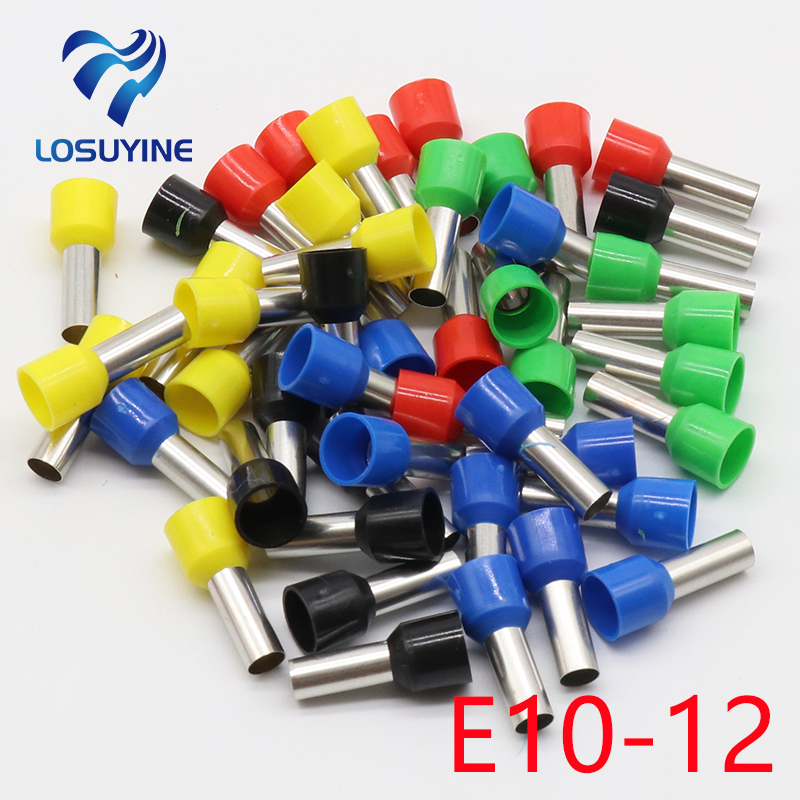 E10-12 Tube insulating Insulated terminals 10MM2 Cable Wire Connector 100PCS/Pack Insulating Crimp Terminal Connector E- e1008 tube insulating insulated terminals 100pcs pack 1mm2 cable wire connector insulating crimp terminal connector e