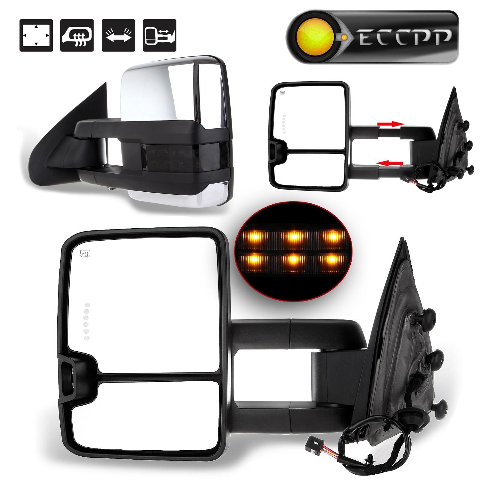 Eccpp towing mirror for 2014 2015 2016 2017 chevy silverado gmc sierra tow side power heated