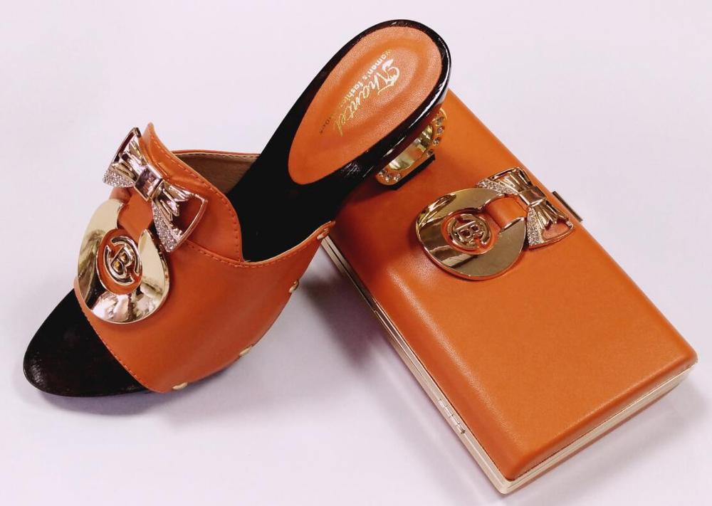 ФОТО Wonderful African woman high heel shoes match bag design Great quality nigeria shoes and heel 7cm orange color