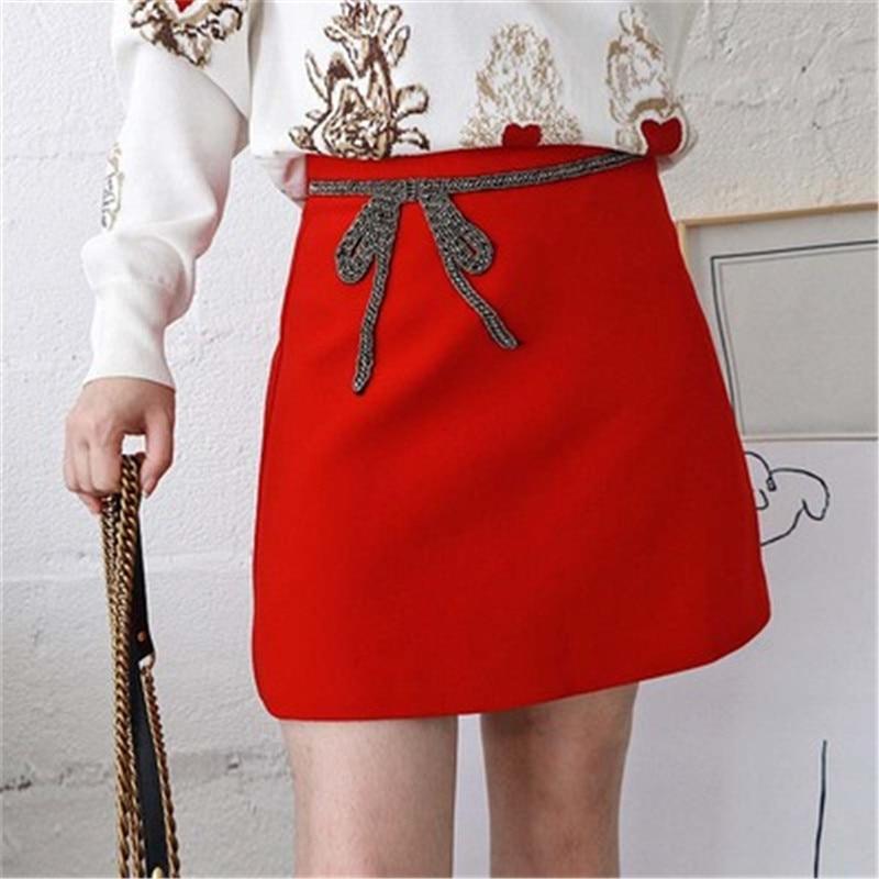 Línea Calidad F169 Lazo Femenina Mini Rojas Rojo Diseñador Mujer Con Marca Alta Falda Cuentas Pasarela De Faldas Otoño Lujo A Invierno wxA0qtyzHZ