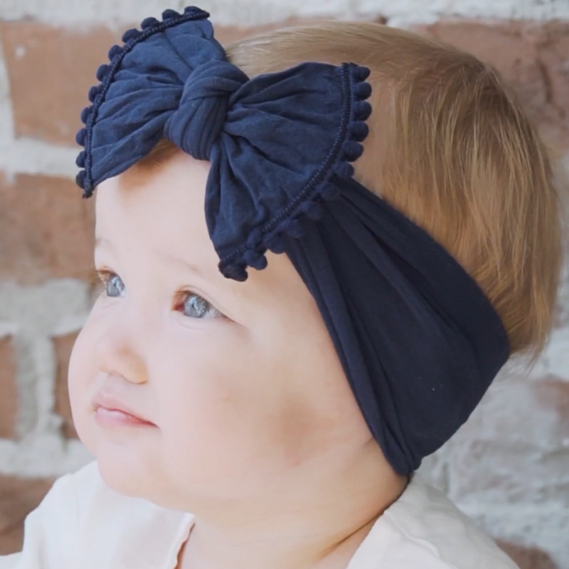Pompom trimmed Knot Baby Headband For Girl Rabbit Ear Hairbands Turban Kids Turbans Accessoires Wide Nylon Headwraps Photo Props new trendy baby kids girls headband cute rabbit bow ear hairband headband turban knot head wraps for girl head wear best gift