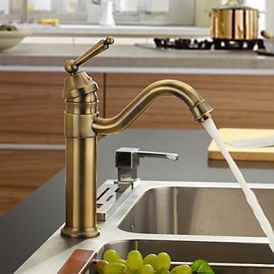 все цены на Antique Inspired Brass Pull Out Kitchen Sink Faucet Tap ,Torneira Para Pia de Cozinha Grifo Cocina онлайн
