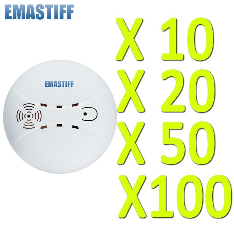 Free Shipping Wholesale 10 20 50 100 Pcs Wireless Smoke Fire Detector Sensor 433MHz 1527 Just