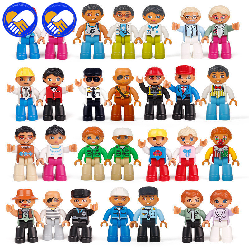 10Pcs Big Size Building Model Character Compatible Duploes Family Worker Police ABS Action Figure Toys For Kids Christmas Gifts