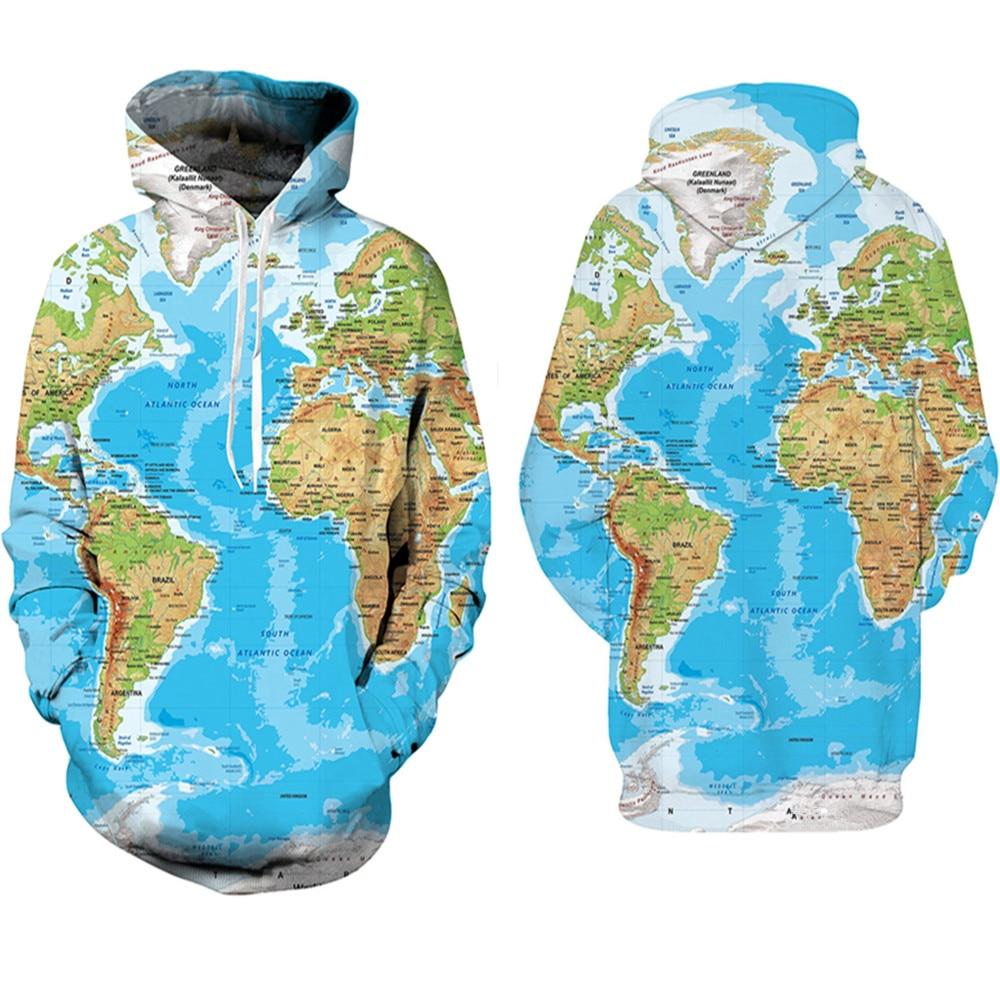 World Map Sweatshirts Cosplay Costume 3d Printed World Map Zipper