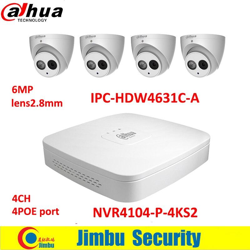 Dahua IP surveilliance system NVR kit 4CH 4K video recorder NVR4104-P-4KS2 & Dahua 6MP IP camera 4pcs IPC-HDW4631C-A H.265 DVR dahua ip surveilliance system nvr kit 4ch 4k video recorder nvr4104 p 4ks2