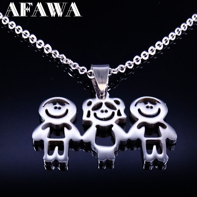 Stainless Steel Mama Children Statement Necklace Jewelry Doll Pendant Necklaces Jewellery