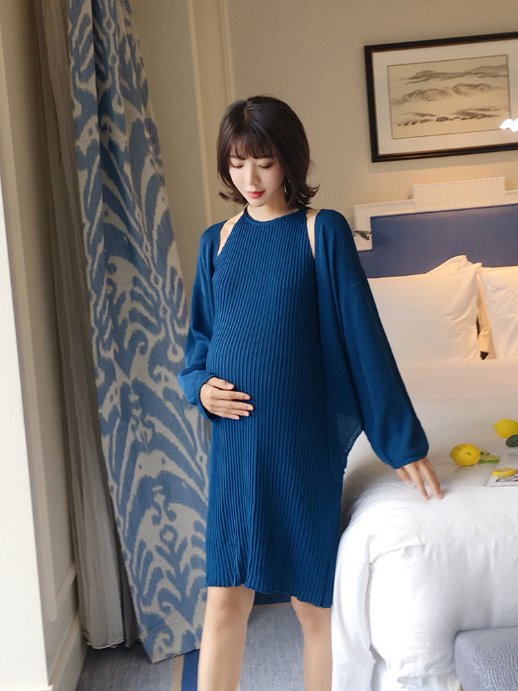 Pregnant women autumn fashion 2018 new suit knit vest dress + knit cardigan coat shirt u back striped knit dress
