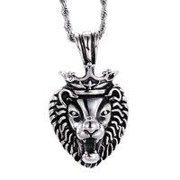 Wholesale 60cm Chain Men Lion Head Pendant Necklace HipHop Stainless Steel Lion King Crown Twisted Chain