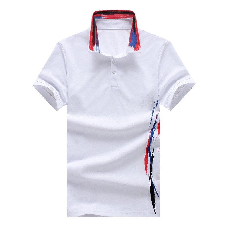 Hommes Polo Chemise 2018 D'été de Haute Qualité Coton À Manches Courtes Polo Coréenne Sauvage Imprimer Plus Size Casual Polo Tee Blanc