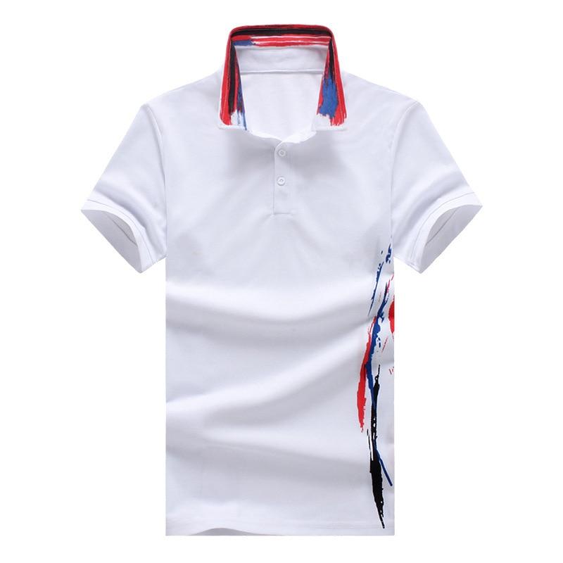 Men Polo Shirt 2018 Summer High Quality Cotton Short Sleeve Polo Korean Wild Print Plus Size Casual Polo Tee White