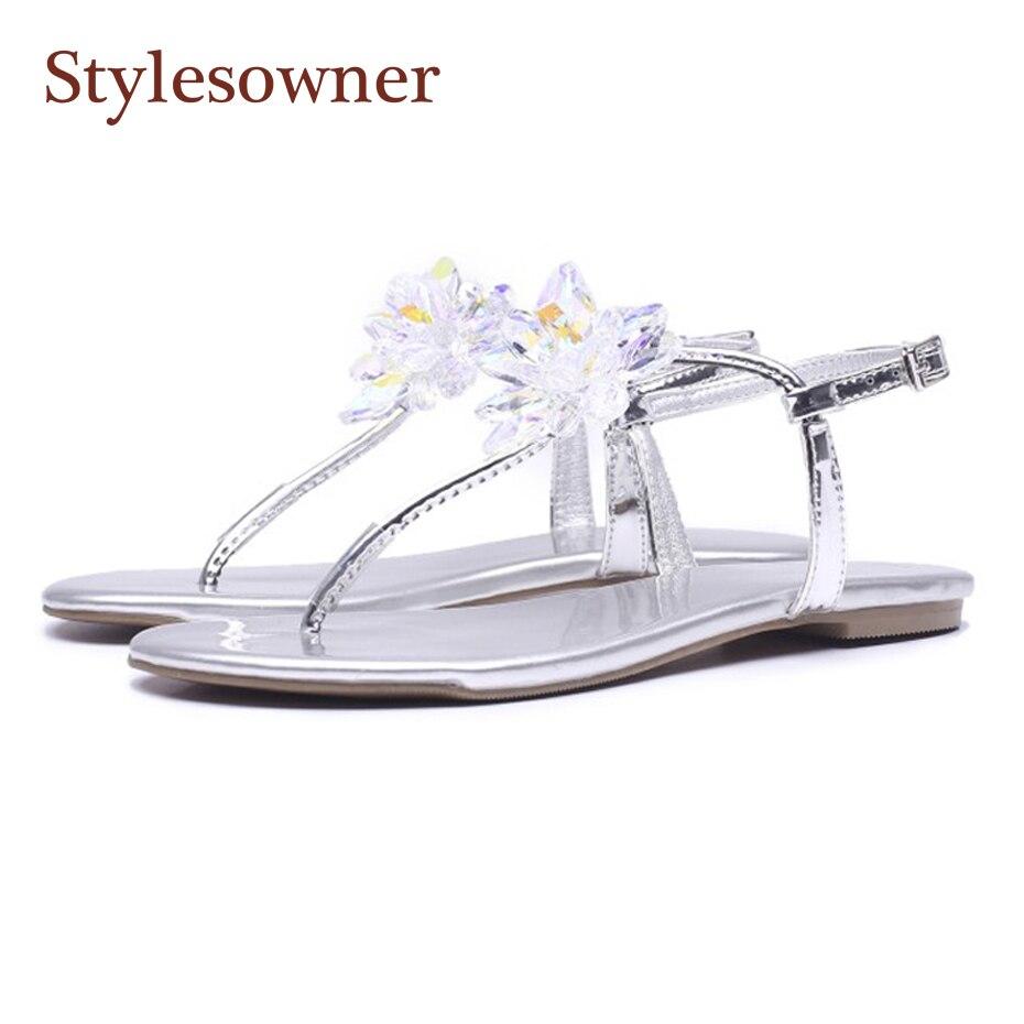 En Femmes Fleur Cuir Cristal Stylesowner Verni Style Argent Doux Chaussures Flip Leisuer D'été Plage Sandales Flop Vacances 5qg1XW