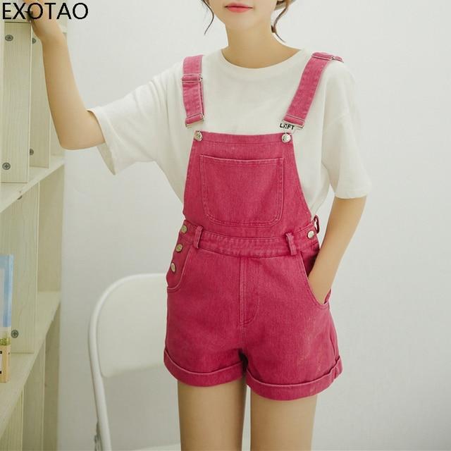 a2d0e6e582c EXOTAO Denim Jumpsuit Shorts Women College Style Front Pocket Loose Romper  Femme Strap Washed Jeans Black