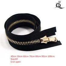 Extremidade-aberto 40cm-100cm 8 #1 pces zíper de metal para costura zip vestuário acessórios jeans zíperes cremalleras diy ferramentas zíper, p5