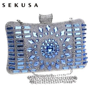 New 2016 glass diamond silver evening bags top quality gold clutch bag elegant blue bag party wedding bridal purse 4 colors