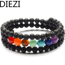 DIEZI Vintage 6mm Lava Beads Yoga Handmade Bracelet 8mm Chakra Stones Bracelet Jewelry Men Women Multilayer Bracelets Jewelry