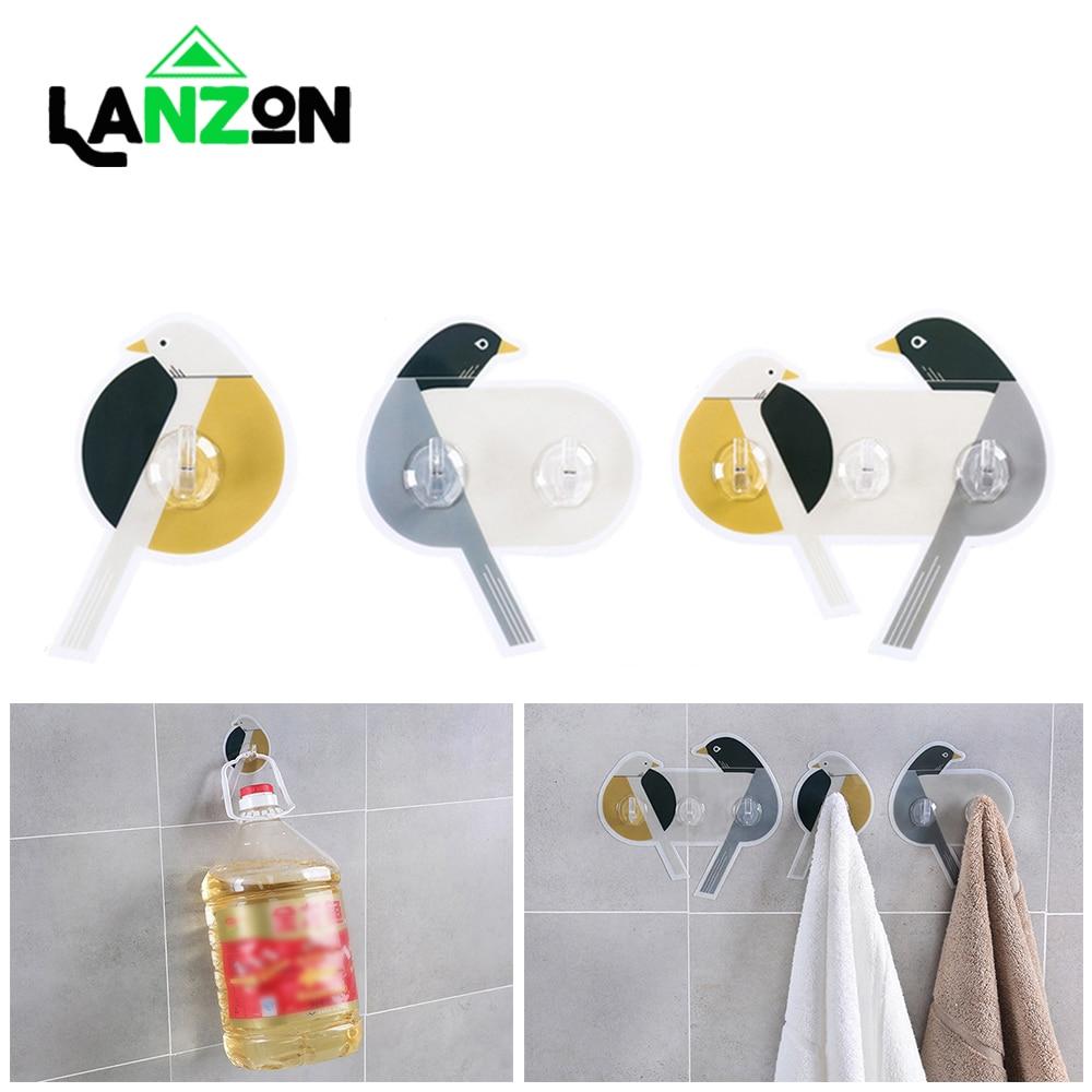 3pcs/set Creative Bird Pattern Hooks Strong Transparent Suction Sucker Kitchen Bathroom Wall Hanger Adhesive Glue-free Hook