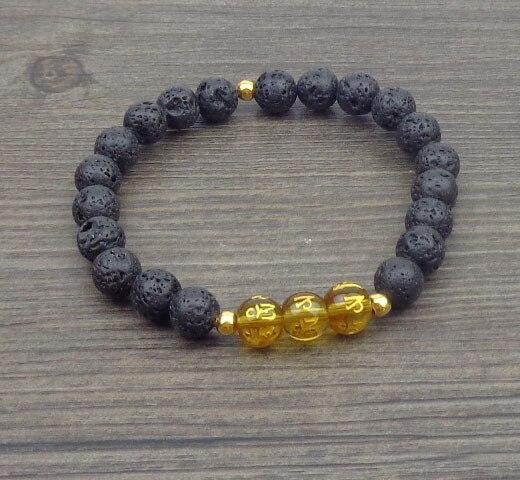 rivenditore di vendita 5d9b3 8e1cf US $21.52 |12 pz/lotto Uomo Bracciale Tibetano OM MANI PAD ME HUM amuleto  Mantra bracciali Natural stone beads jewerly etsy braccialetto di Trasporto  ...
