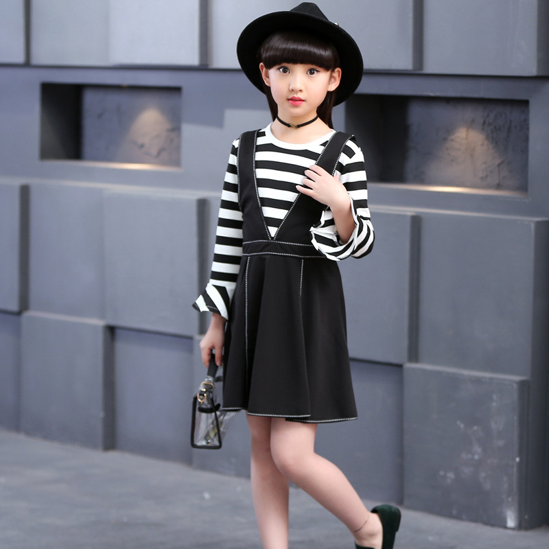 2017 spring baby girl suspender skirt+long sleeve T-shirts striped clothes sets for children girls 2-7Y high quality цена 2017