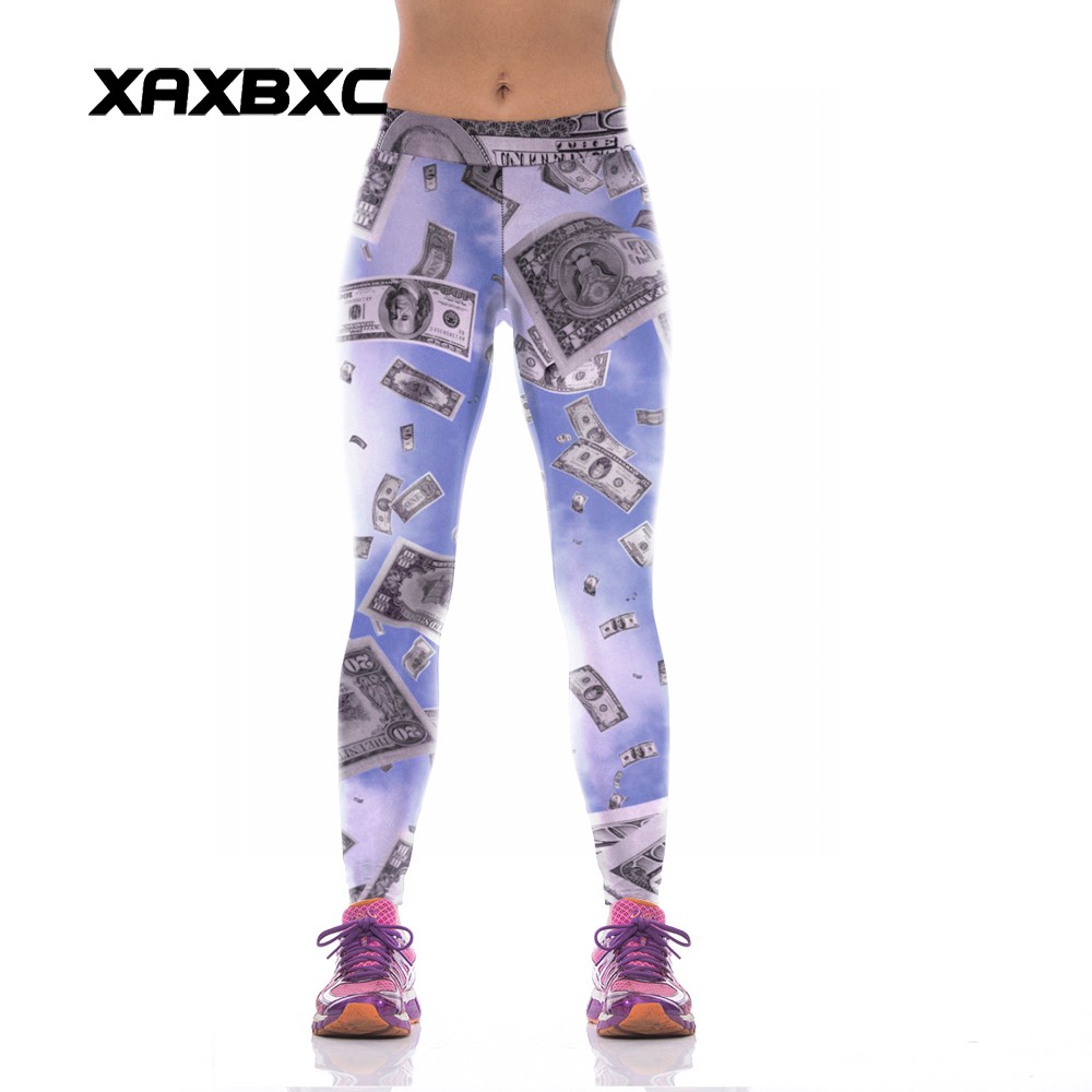 NEW KYK1040 Sexy Girl Women Dollar 3D Prints High Waist Polyester font b Fitness b font