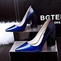 Женщины Насосы Европейский Элегантный Высоких Каблуках ShoesThick Пятки Указал Одиночные женская Обувь Sexy Высокие Каблуки Офисные Туфли OL 3173-3