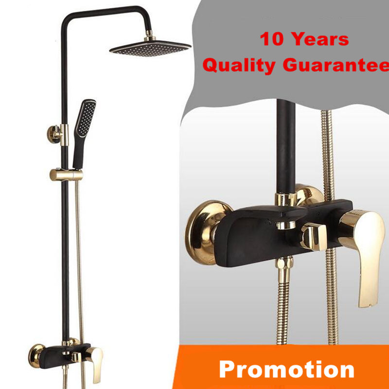 Black Gold Wall Mount Dual Handle 8 inch Rainfall Bathroom Shower Set Faucet Oil Rubbed Bronze Finish wall mount 10 inch thermostatic bathroom shower faucet mixer taps dual handle with hand held shower chrome finish