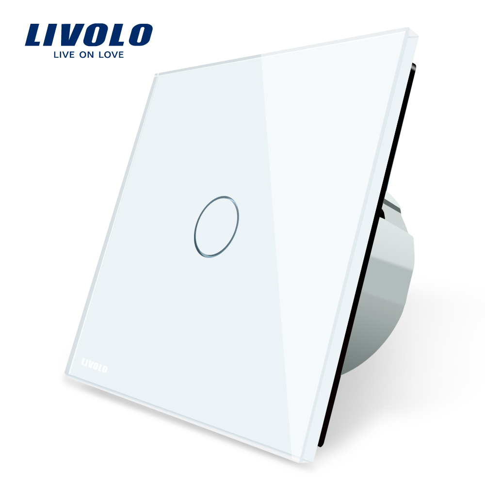 Livolo Luxury White Crystal Glass ,Wall Switch, Touch Switch, Normal 1 Gang 1 Way Switch, C701-11/2/5 smart home us au wall touch switch white crystal glass panel 1 gang 1 way power light wall touch switch used for led waterproof