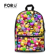 FORUDESIGNS Canvas Backpacks for Teenage Girls 2017 School Bags 3D Emoji Face Printing Backpack Women Funny School Back Pack