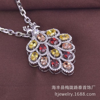 5pcs/lot LSP935 peacock pendant 925 sterling silver colorful zircon stone necklace jewelry,  free shipping