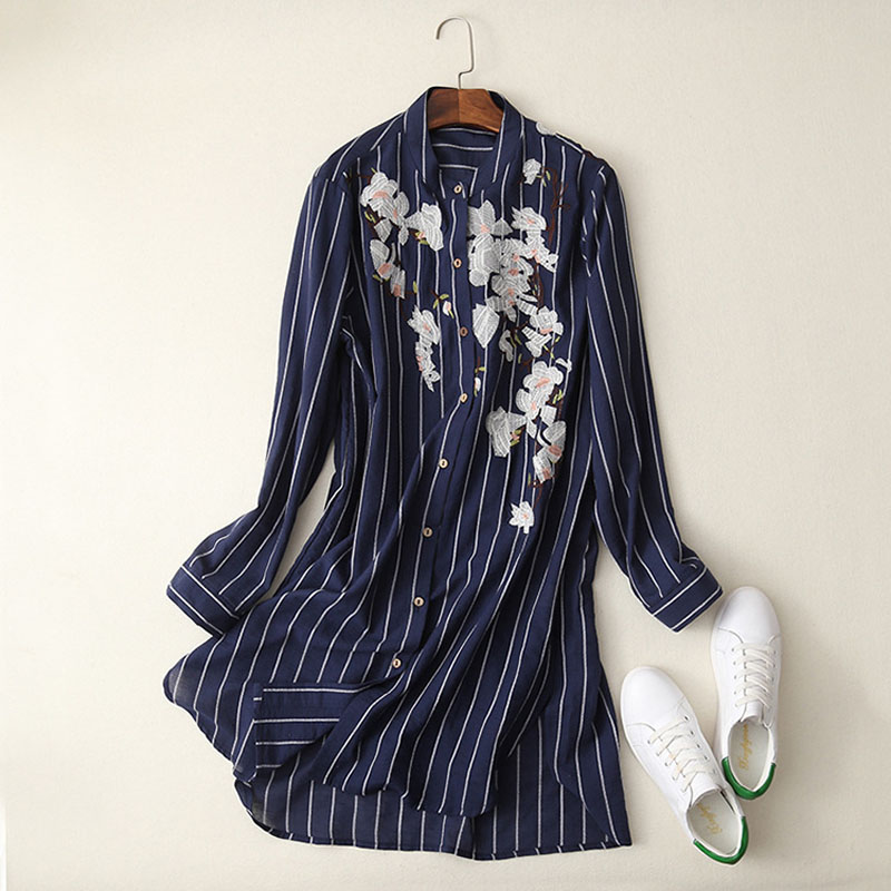L508 fashion women spring floral embroidery striped print turn down collar shirt ladies long design navy color blouse blusas