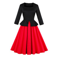 Sisjuly Women Autumn Dress Girls Long Sleeve Square Collar Mid Calf Pleated Color Block Double Layer