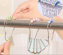 24pcs/set Stainless Steel Bath Rollerball Shower Curtain Hooks Glide Rings Heavy Duty home Decoration