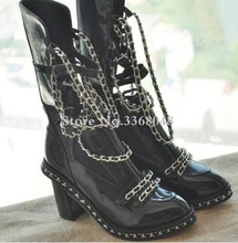 Fall Winter Ankle High Black Motorcycle Boots Shoes Women Chained Overknee Boot Chunky Heels Big size