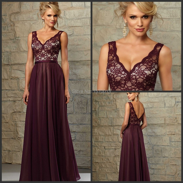 7d87dd176d1 Burgundy Chiffon Bridesmaid Dresses with Lace Corset Deep V Neck Spaghetti  Straps V Back Full Length Vestidos De Festa