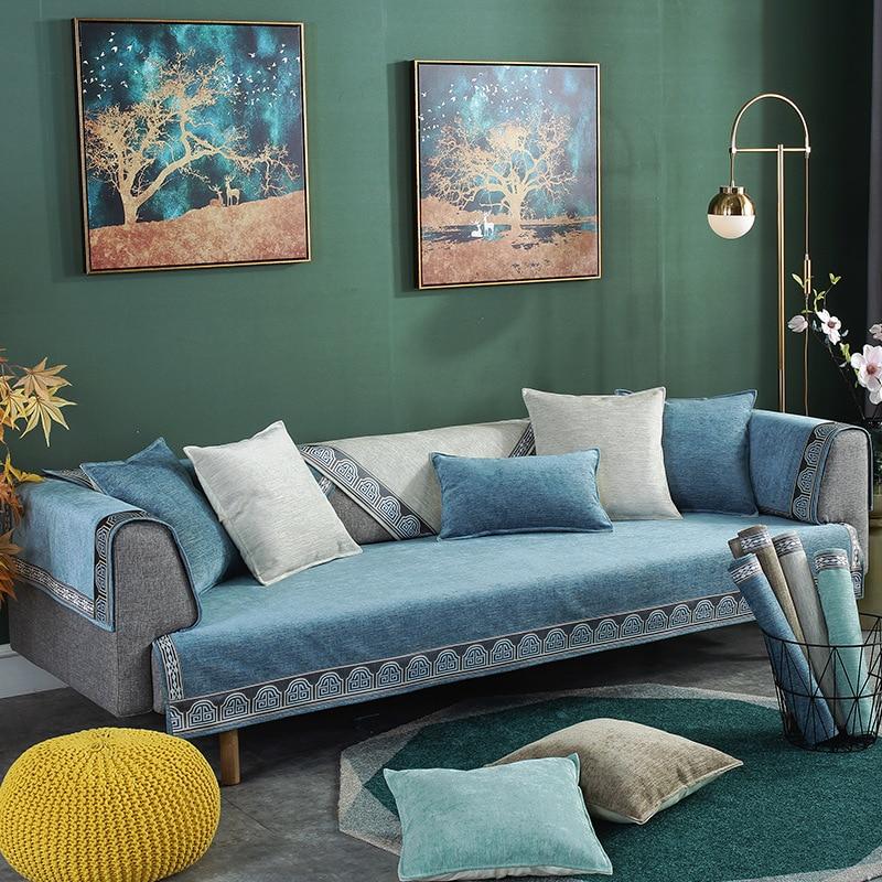 Modern simplicity Four seasons universal Chenille sofa cushion Plain color Non-slip sofacover Custom made towel slipcover