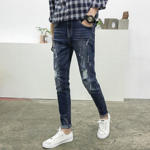 8d233e78386 Spring New Ripped Jeans Men Fashion 2019 Korean Slim Fit Blue Biker Men  Jeans Casual Hole Design Denim Pants Men Long Trousers