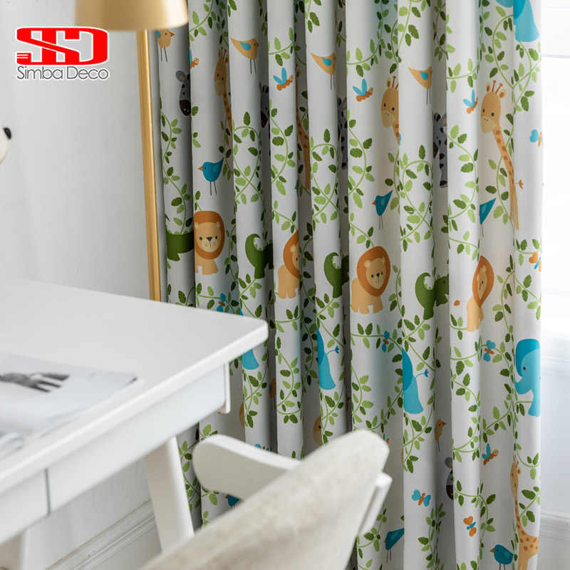 Cartoon Blackout Curtains for Living Room Printed Animals Cute Drapes for Kids Bedroom Giraffe Children Window Treatments Panel