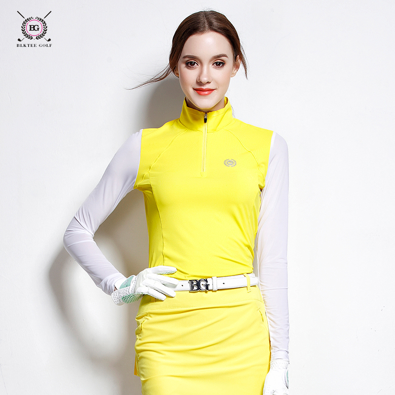 Women golf shirt sunscreen sleeve sports t-shirt lady spring or summer top breathable jersey 3 colors