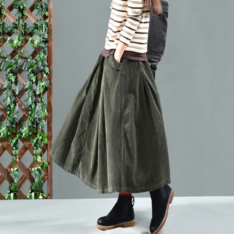 Winter Long Skirts Women  Net Color Restoring Ancient Ways Corduroy Double ChaDou Posed The A-line Skirt Girl Leisure Female
