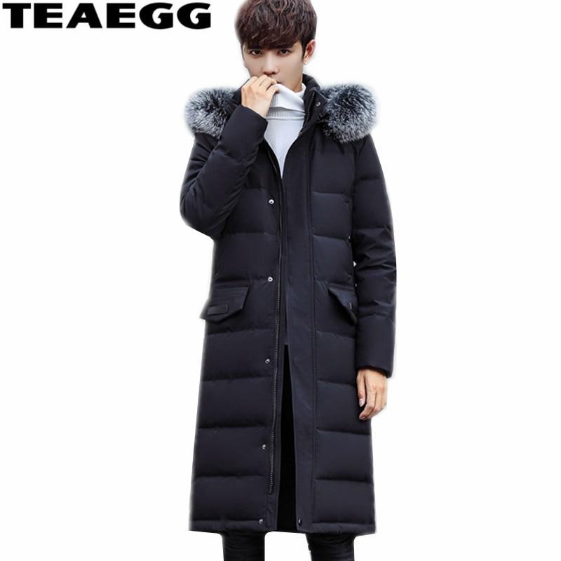 TEAEGG High Quality Black Luxury Fox Fur Collar Men Down Jacket Men Winter White Duck Down Jackets Coat Outwear Warm ParkasAL520