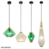 Fashion Green Diamonds Modern LED E27 Pendant Lights Kitchen Glass Metal For Dinning Room Light Fixtures