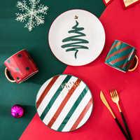 1pc Merry Christmas Ceramic Dinner Dish Plate Set Mug Dessert Cake Pastry Fruit Serving Plate Decorative Tableware