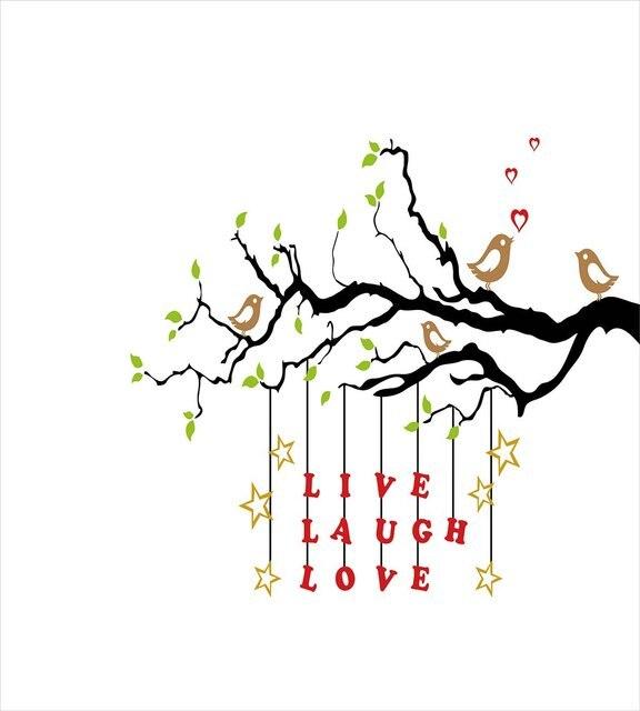 Ensemble de housse de couette pour Couple doiseaux en amour | Rire vif assis sur une branche avec citation dinspiration, ensemble de literie 4 pièces