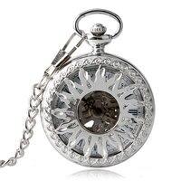 Skeleton Vintage Hollow Sun Fob Fashion Elegant Necklace Automatic Mechanical Pocket Watch Luxury Trendy Self Winding