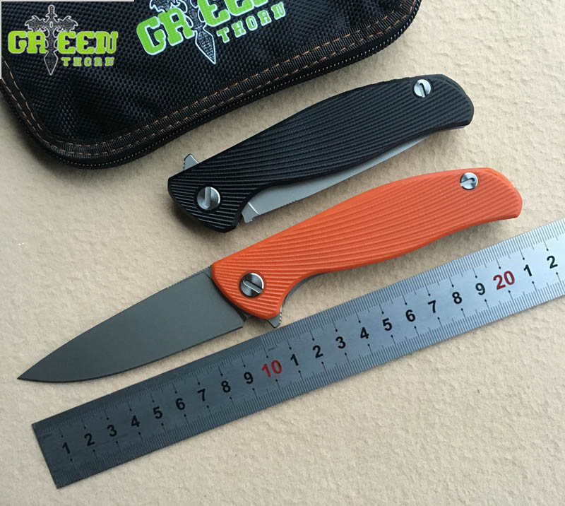 Green thorn HATI 95 Flipper folding knife bearing D2 blade G10 Steel handle outdoor camping hunting pocket fruit knife EDC tool