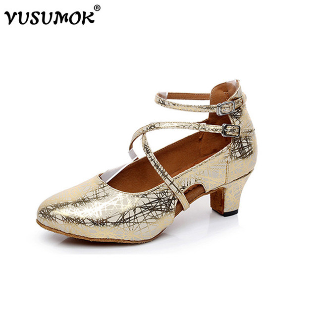 f90411738f1f VUSUMOK Women Tange Shoes Ladies Girls Latin Dance Shoes Modern Salsa  Dancewear Mid High Heels Plugs size 33-43